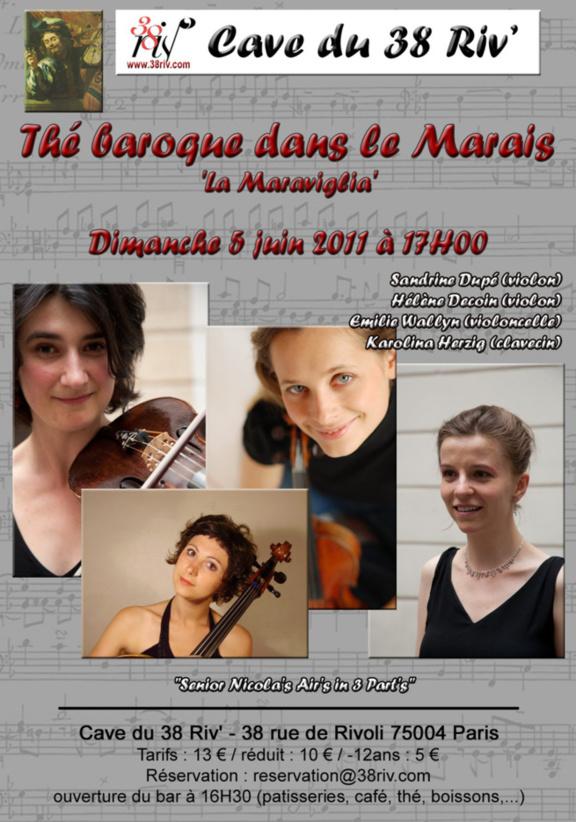"""THE BAROQUE DANS LE MARAIS  """"la Maraviglia""""    à la Cave du 38Riv'"""