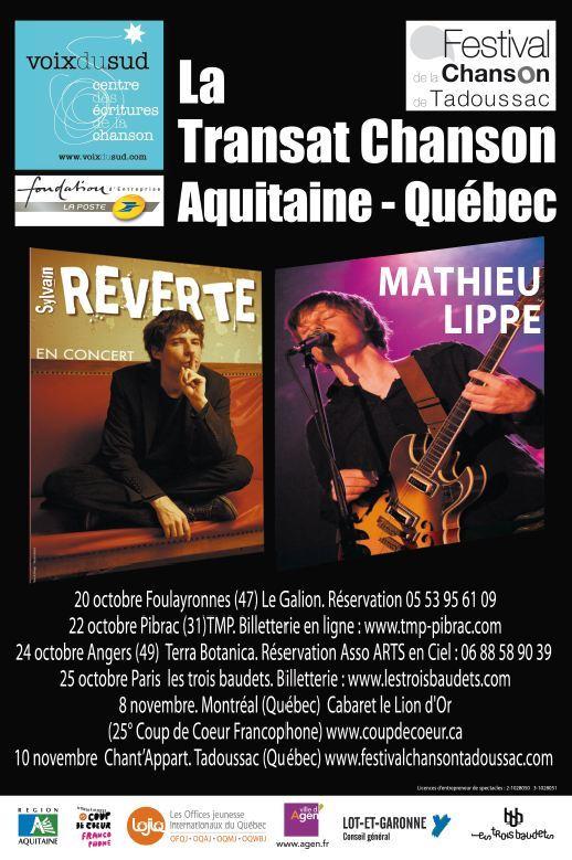 La tournée Transat chanson Aquitaine-Québec à Paris et en province