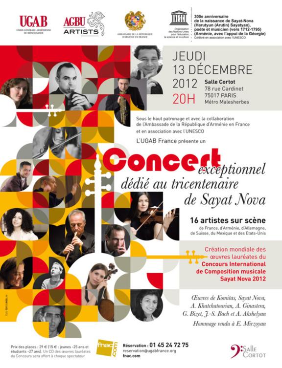 Concert exceptionnel dédié au tricentenaire de Sayat Nova