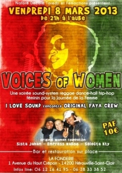 soiré - Journée de la Femme - Women Voices - I LOVE SOUND + Original Faya Crew