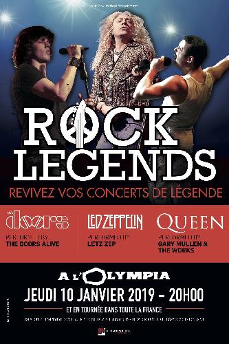 Rock Legends en tournée en France en 2019 avec Led Zeppelin, The Doors