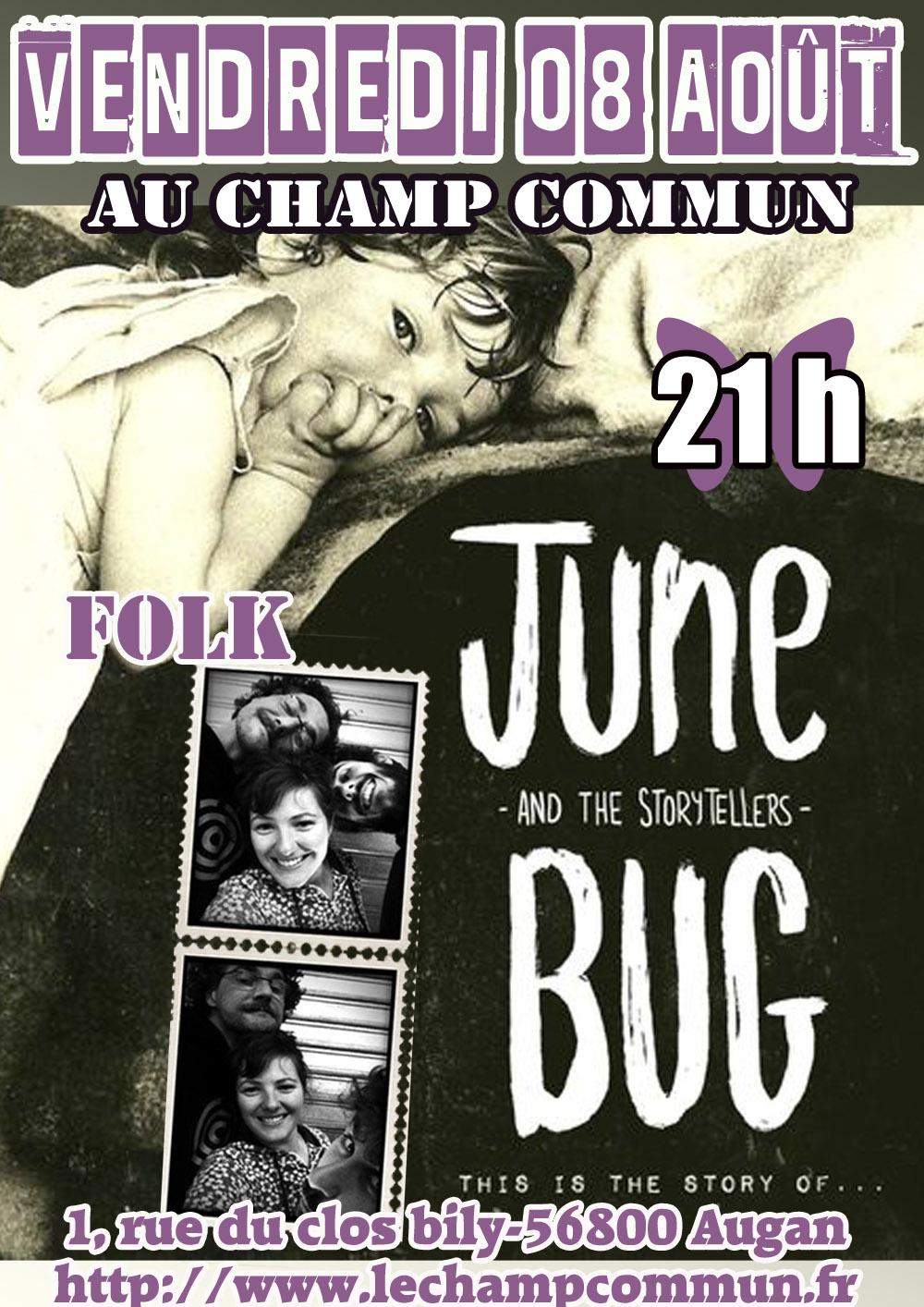 Vendredi 08 Août à 21h au Champ commun- Folk avec June Bug & the story tellers
