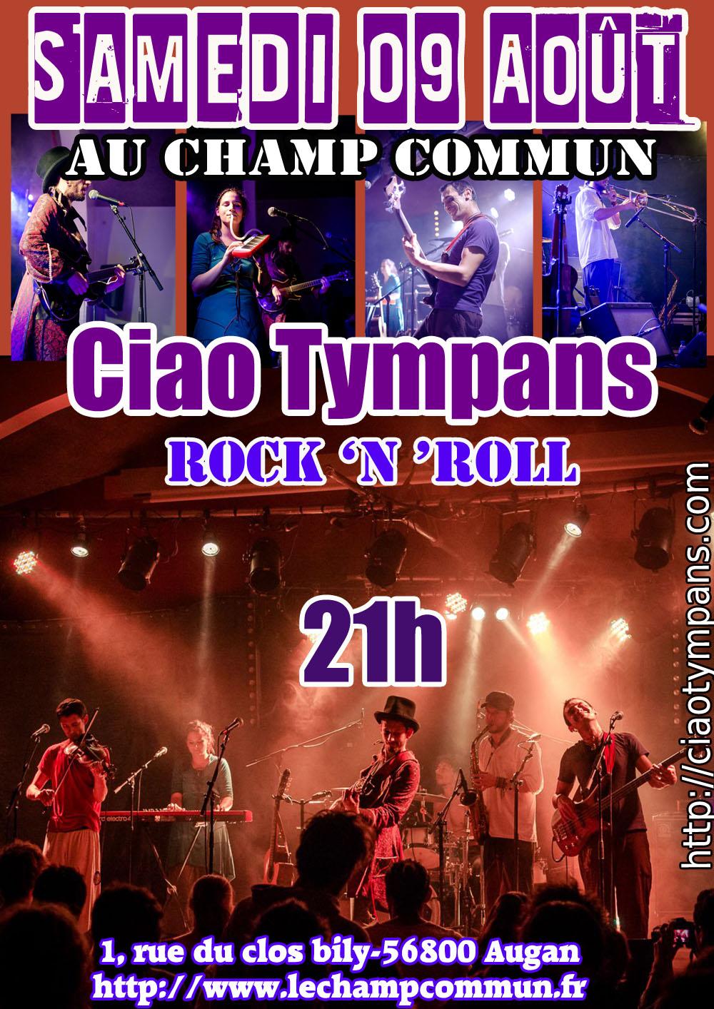 Samedi 09 Août à 21h au Champ Commun- Ska rock avec Ciao Tympans
