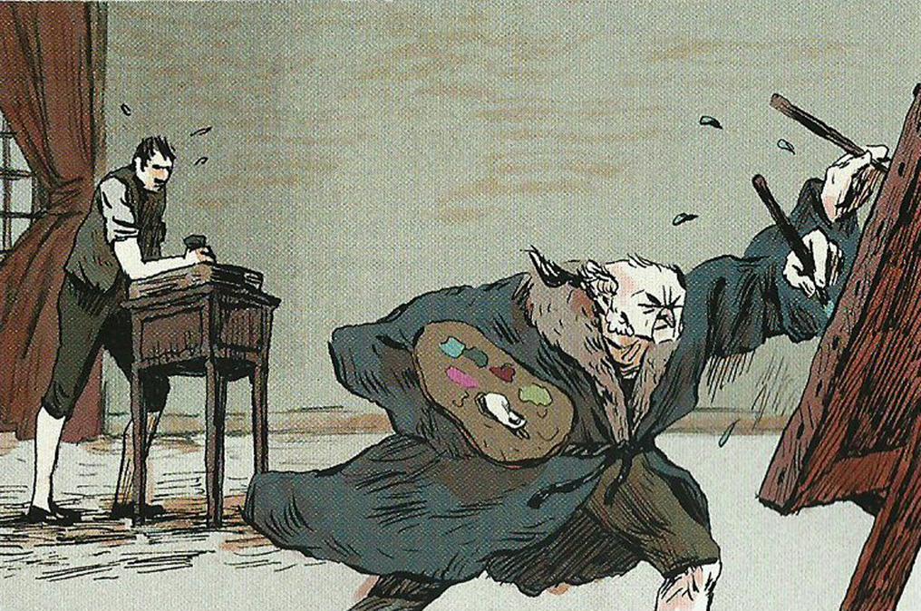 Benjamin Bozonnet, Goya, détail p.9 , 2014,  encre de chine et encre bistre, pinceau, plume, couleurs numériques.